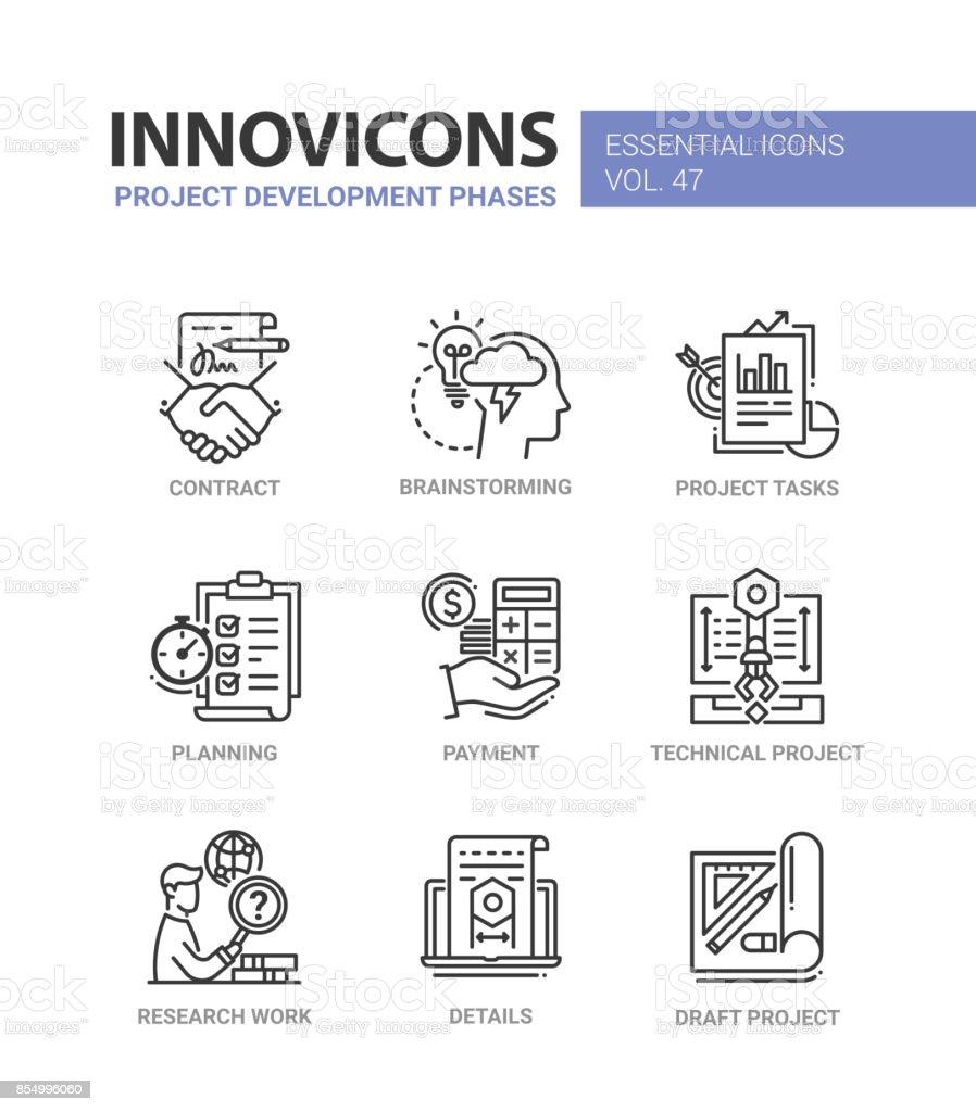 Phases de développement de projet - modern vector ligne icônes set - Illustration vectorielle