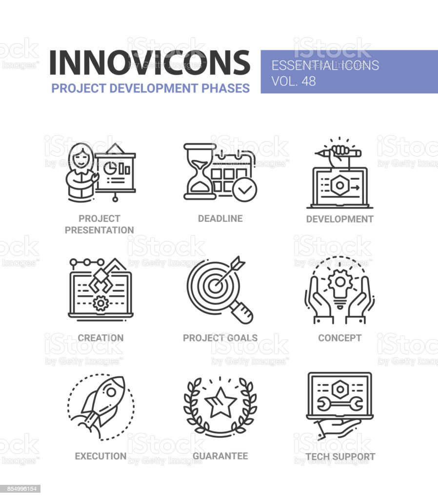 Project Development Phases - modern vector line icons set vector art illustration