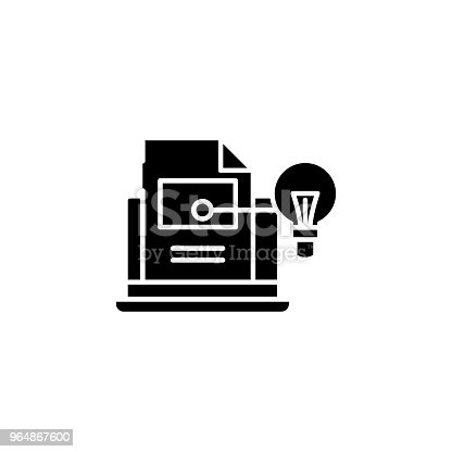 Project Documentation Black Icon Concept Project Documentation Flat Vector Symbol Sign Illustration Stock Vector Art & More Images of No People 964867600