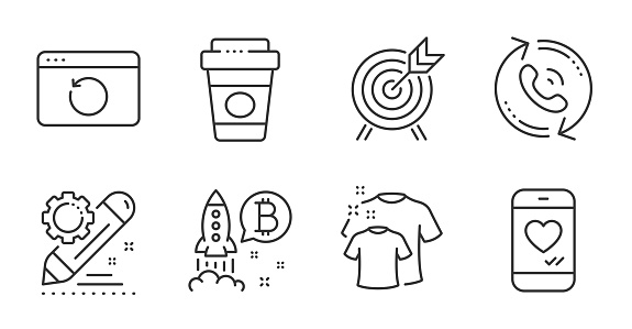 Project edit, Clean t-shirt and Recovery internet icons set. Call center, Bitcoin project and Love chat signs. Vector