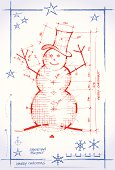 Original illustration, sketch of a snowman project with dimensions. Different layers for a better edit. High resolution JPG.