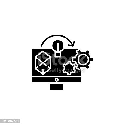 Project Implementation Black Icon Concept Project Implementation Flat Vector Symbol Sign Illustration Stock Vector Art & More Images of Achievement 964867844
