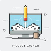 istock Project launch and start up. Thin line concept. 821199316