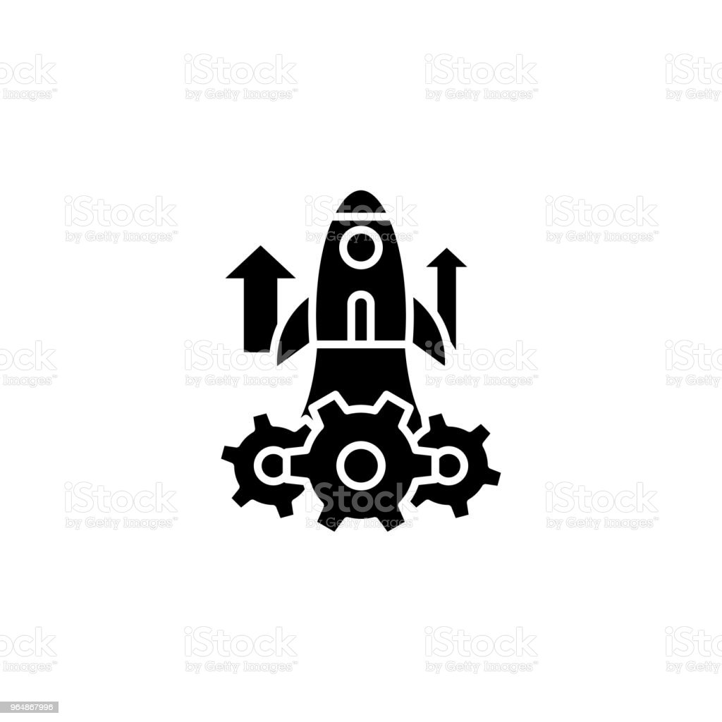 Project launch black icon concept. Project launch flat  vector symbol, sign, illustration. royalty-free project launch black icon concept project launch flat vector symbol sign illustration stock illustration - download image now