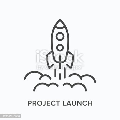 Project launch line icon. Vector outline illustration of starting up rocket. Business startup pictorgam.