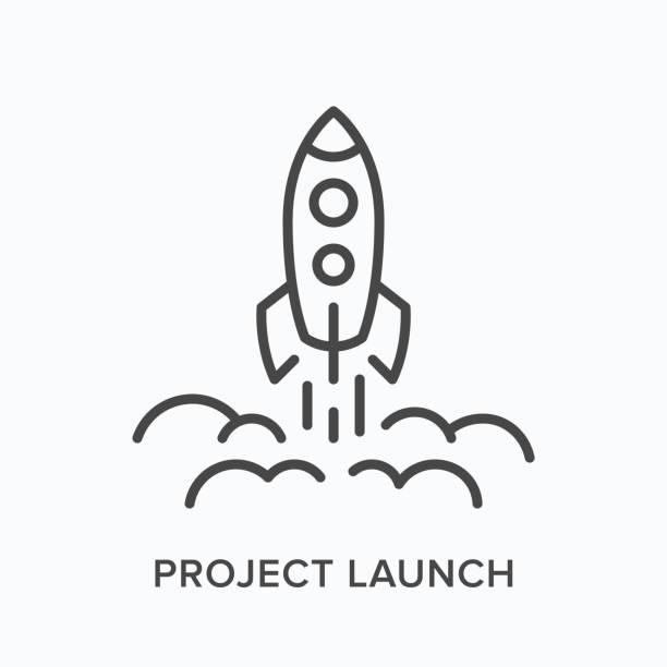 projektstartzeilensymbol. vektor-umriss-illustration des startens der rakete. startup pictorgam - rakete stock-grafiken, -clipart, -cartoons und -symbole