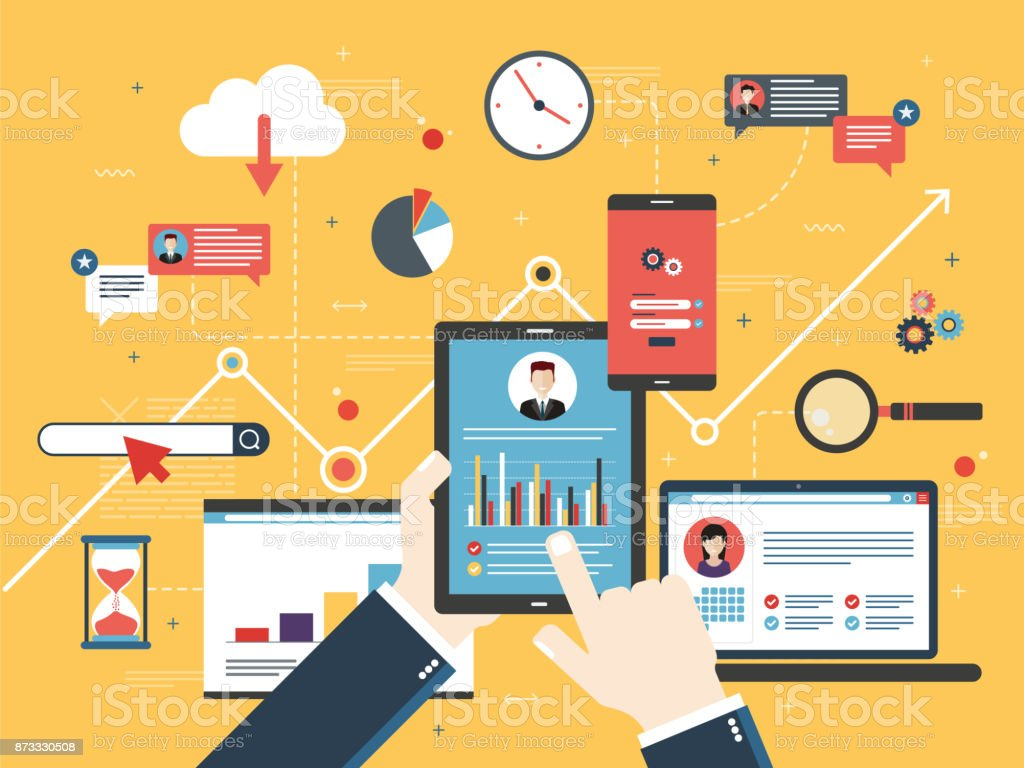Project management and application development. Hand with tablet with performance analysis, laptop and internet screen with data, search icons and project management, application developments. Concept for successful business in flat vector design. Analyzing stock vector