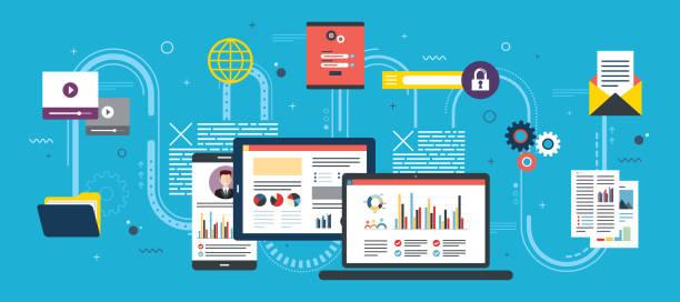 Project management and application development. vector art illustration