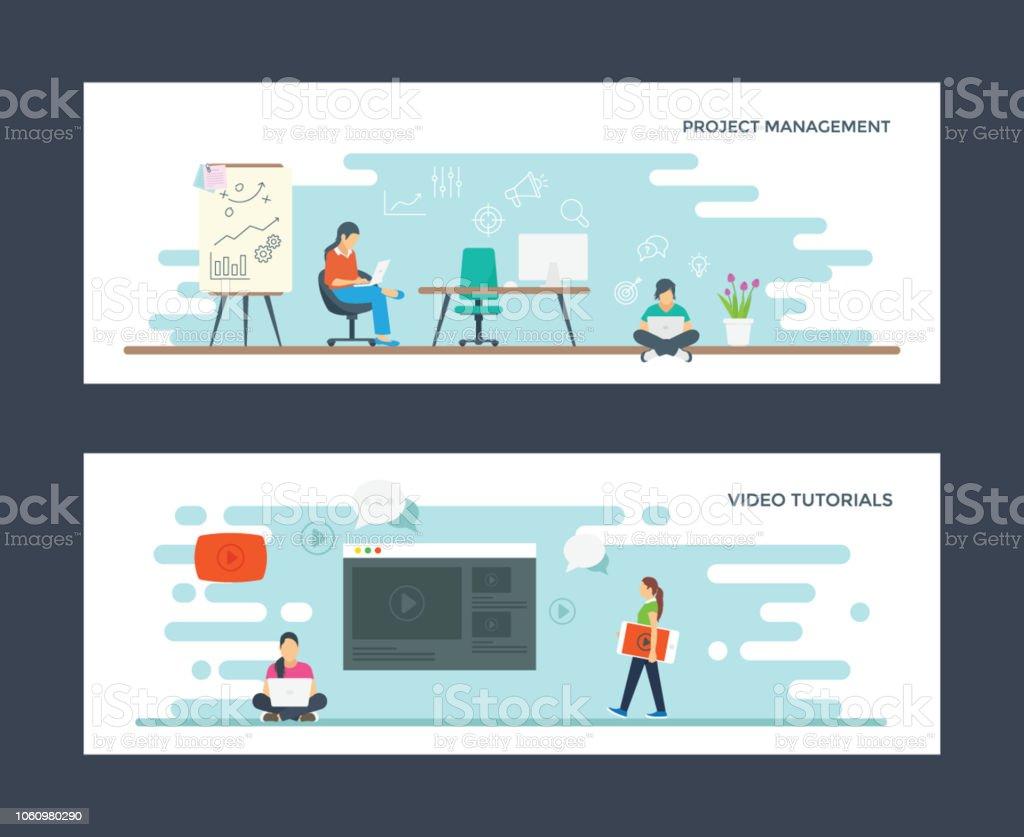 Project Management and Video Tutorials Flat Illustrations vector art illustration