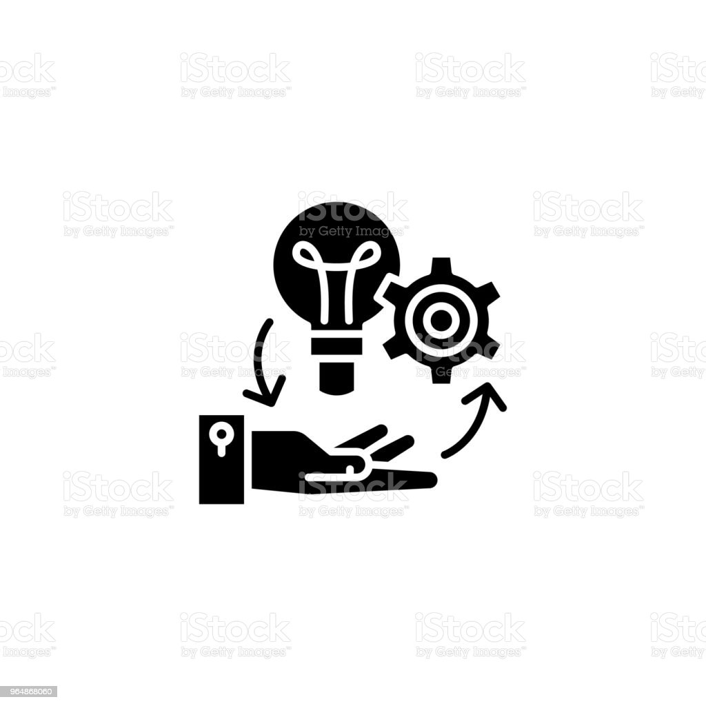 Project management black icon concept. Project management flat  vector symbol, sign, illustration. royalty-free project management black icon concept project management flat vector symbol sign illustration stock vector art & more images of analyzing