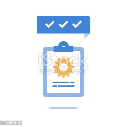 Clipboard and cogwheel, technical support check list, team work solution, project management, software upgrade, testing services, vector icon, flat design illustration