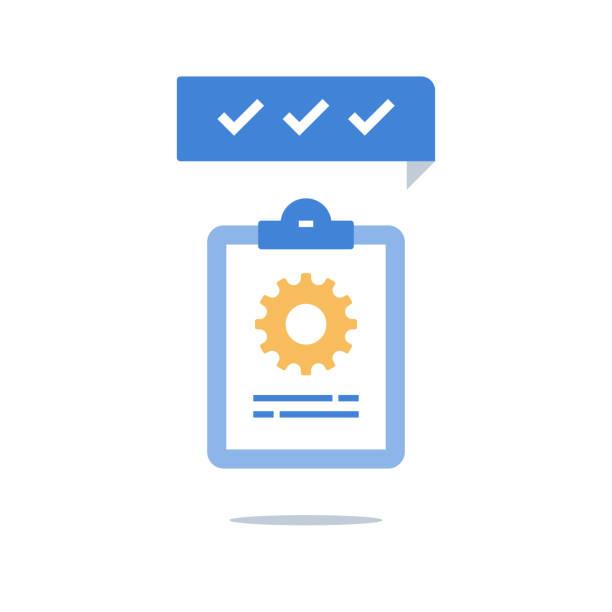 ilustrações, clipart, desenhos animados e ícones de gerenciamento de projetos, área de transferência e roda dentada, técnica suportam a lista de verificação, solução de trabalho de equipe, atualização de software, serviços de testes - afazeres domésticos