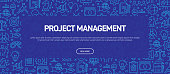 Project Management Concept - Business Related Seamless Pattern Web Banner