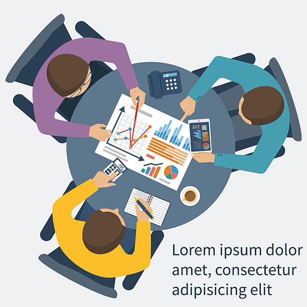 ilustraciones, imágenes clip art, dibujos animados e iconos de stock de concepto de gestión de proyectos  - asesor financiero