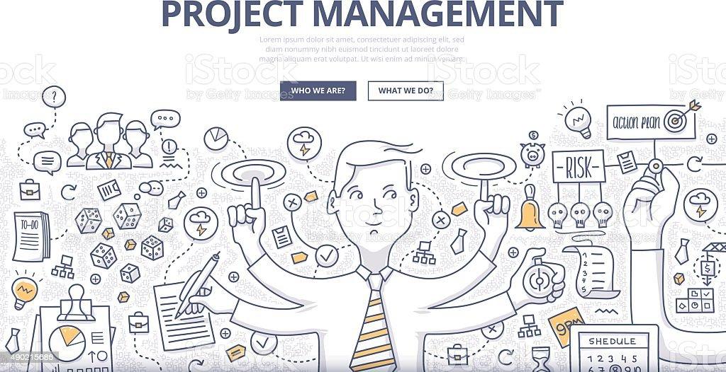 Concepto de gestión de proyectos; Garabato - ilustración de arte vectorial