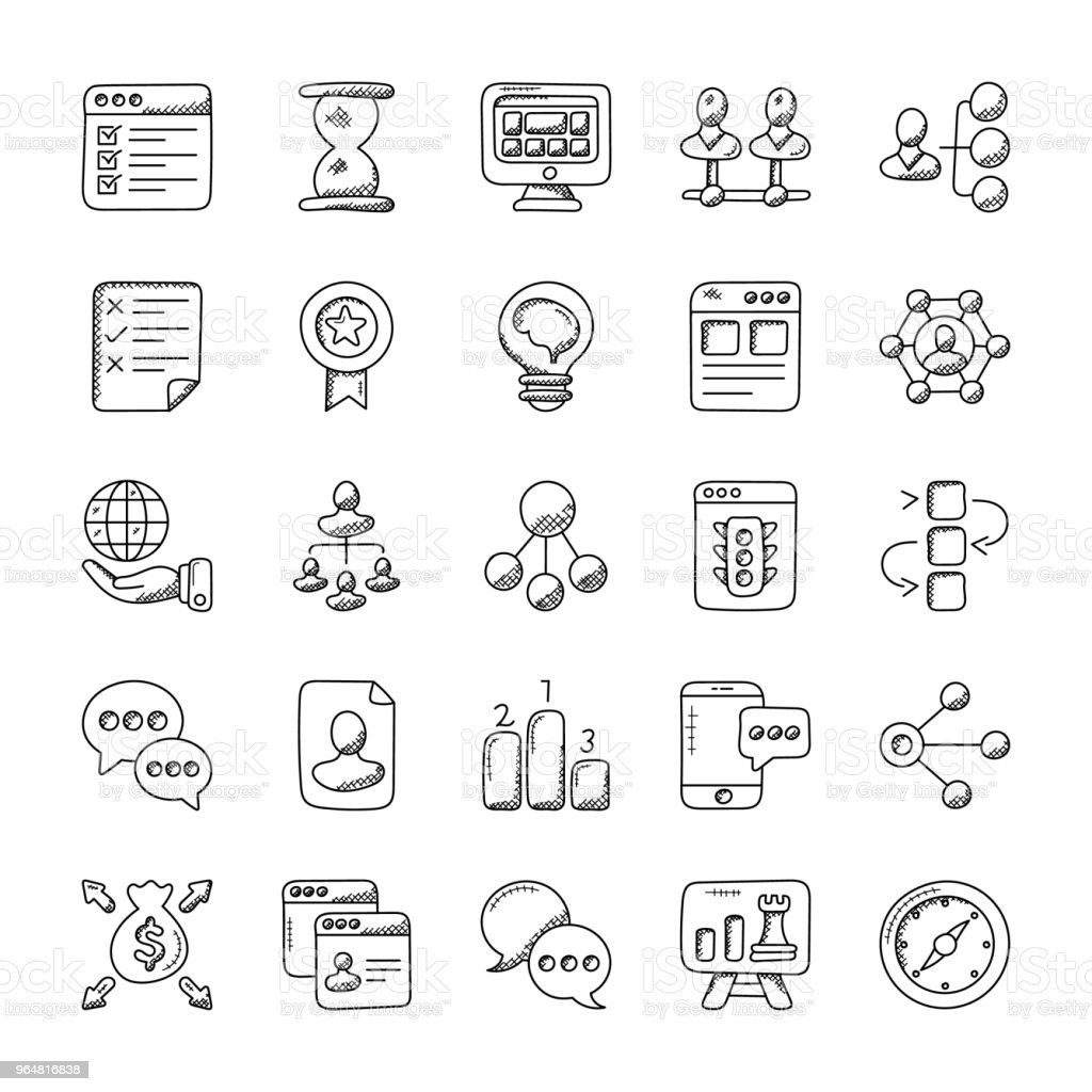 Project Management Doodle Icons Set royalty-free project management doodle icons set stock vector art & more images of badge