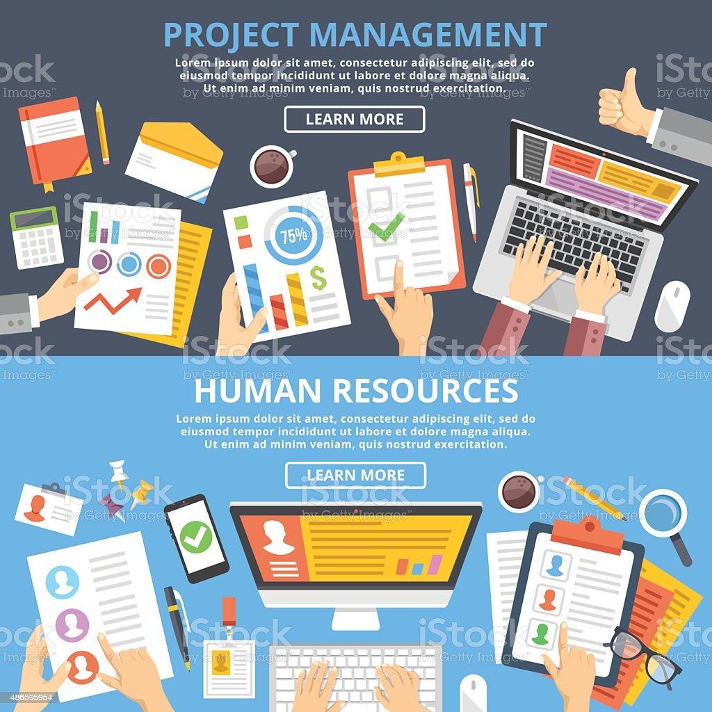 Gestión de proyectos, recursos humanos flat illustration concepts conjunto. Vista superior - ilustración de arte vectorial