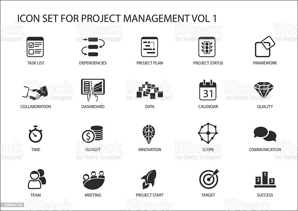 Project Management icon set. Various vector symbols for managing projects – Vektorgrafik