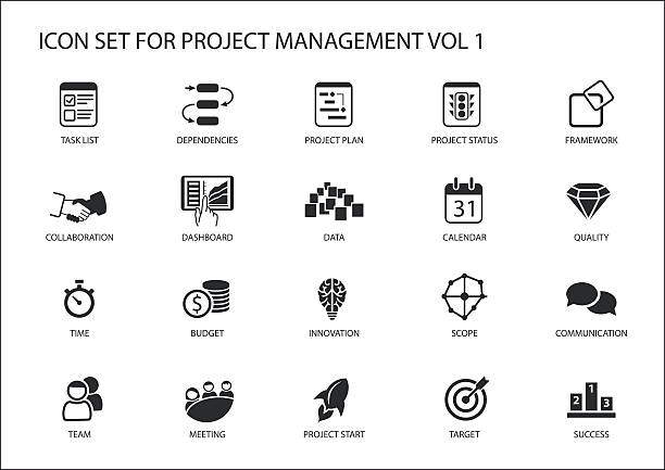 Project Management icon set. Various vector symbols for managing projects vector art illustration