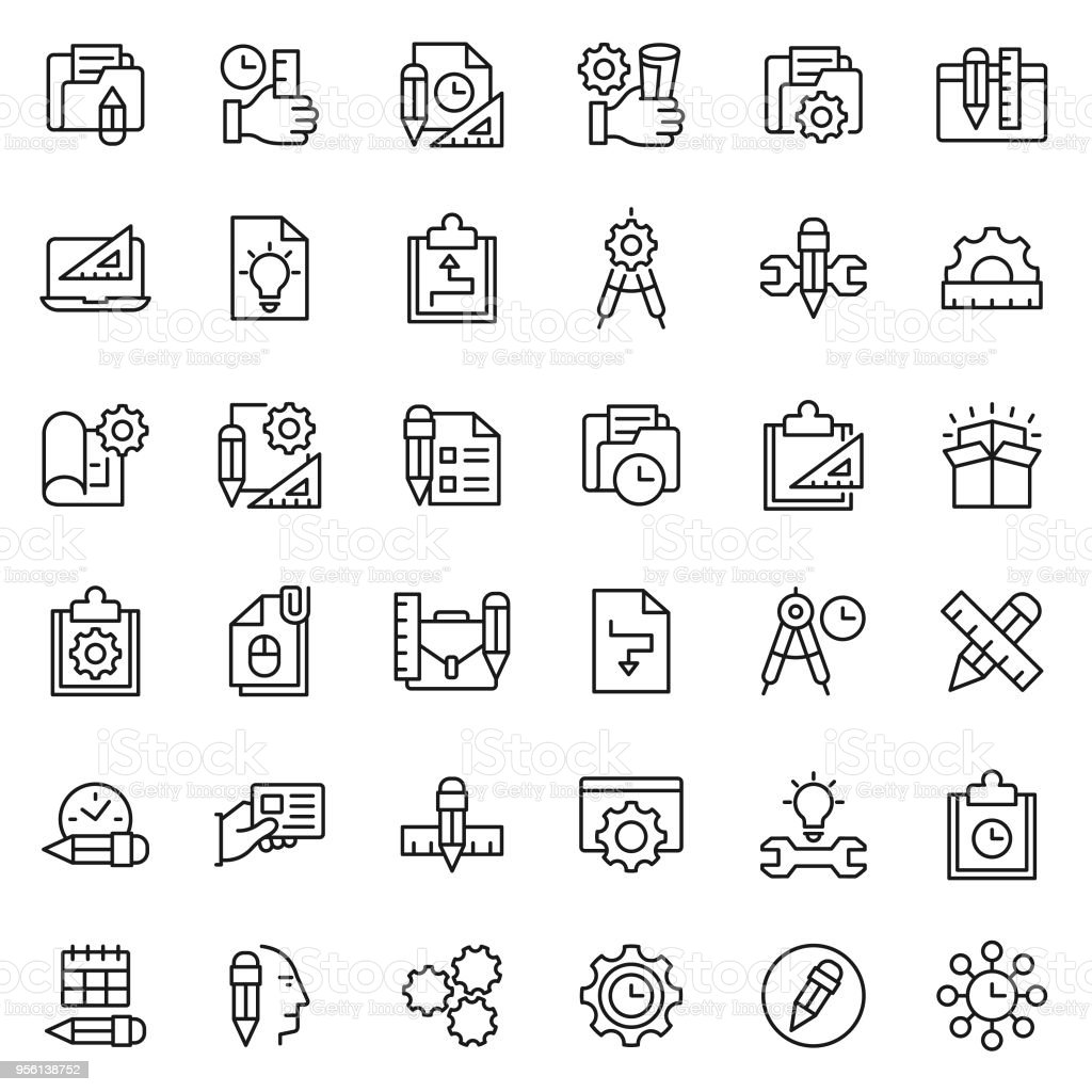 Project Management Icon Set Stock Illustration - Download Image Now