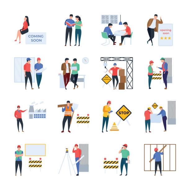 illustrations, cliparts, dessins animés et icônes de ensemble d'illustrations de gestion de projet - chef de projet