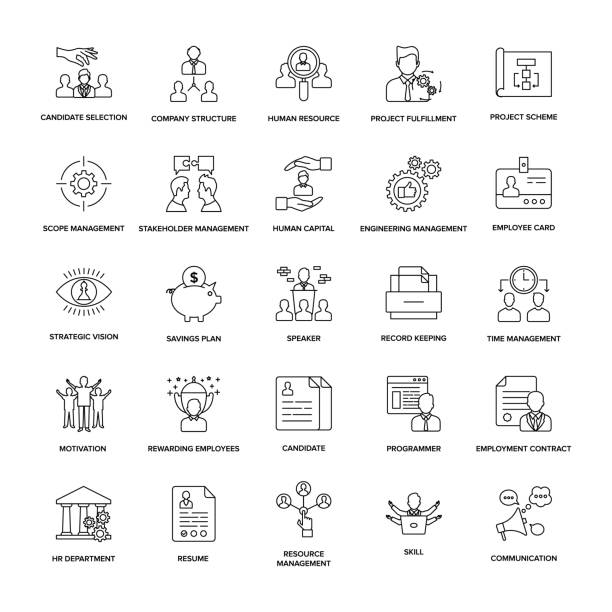 Project Management Line Icon Pack vector art illustration