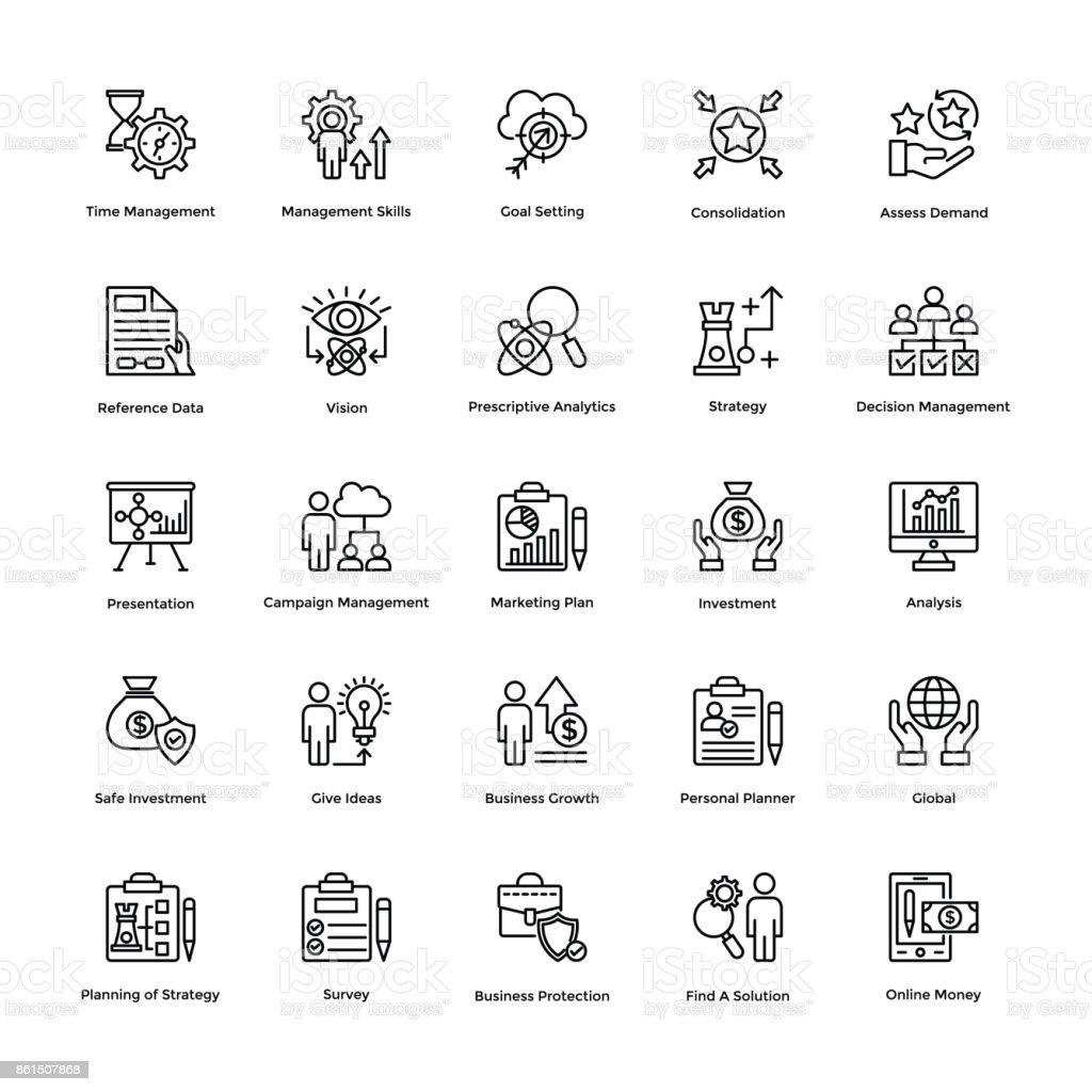Project Management Line Vector Icons Set 13 vector art illustration