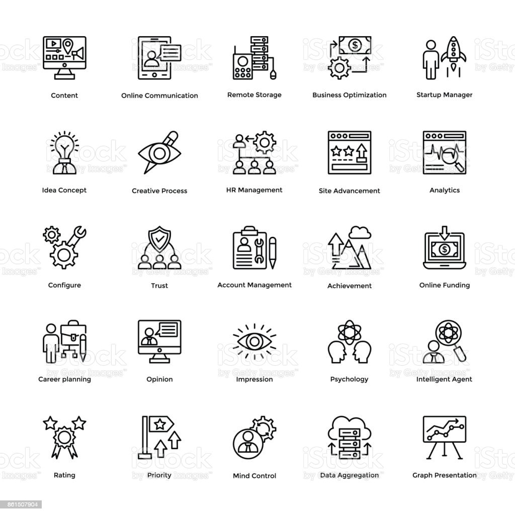 Project Management Line Vector Icons Set 16 vector art illustration