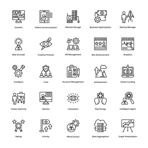 ilustraciones, imágenes clip art, dibujos animados e iconos de stock de proyecto gestión línea vector icons set 16 - gerente de cuentas