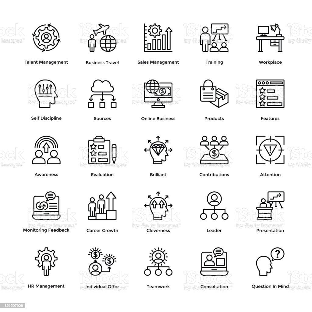 Project Management Line Vector Icons Set 17 vector art illustration
