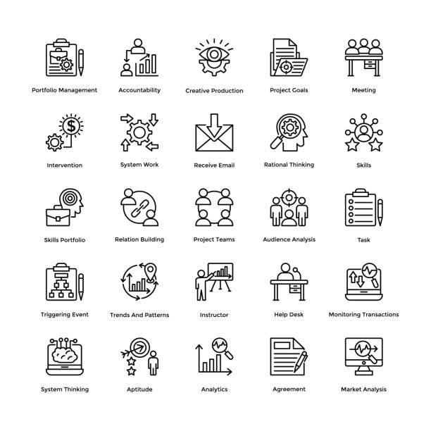 project management line vector icons set 19 - орфографический знак stock illustrations