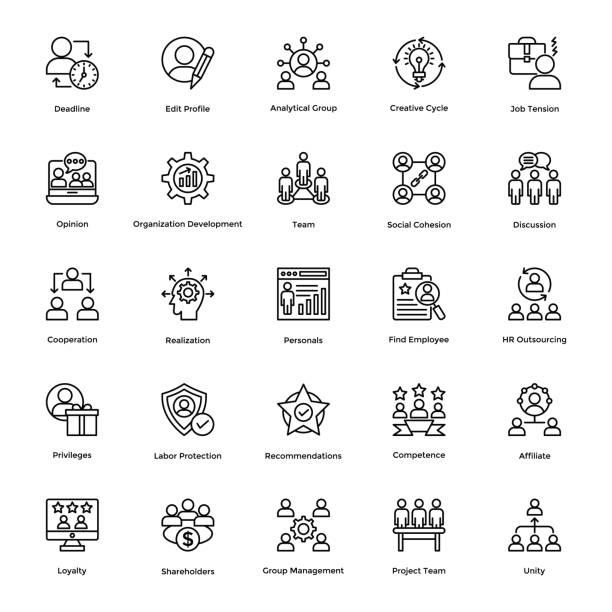 illustrazioni stock, clip art, cartoni animati e icone di tendenza di project management line vector icons set 2 - focus group