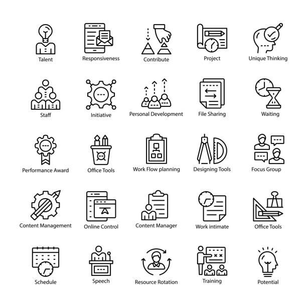 illustrazioni stock, clip art, cartoni animati e icone di tendenza di project management line vector icons - focus group