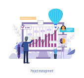 Project management. Controlling company resources, project management, control over implementation of plan, business planning strategy, calculating budget, analysis working time. Vector illustration.