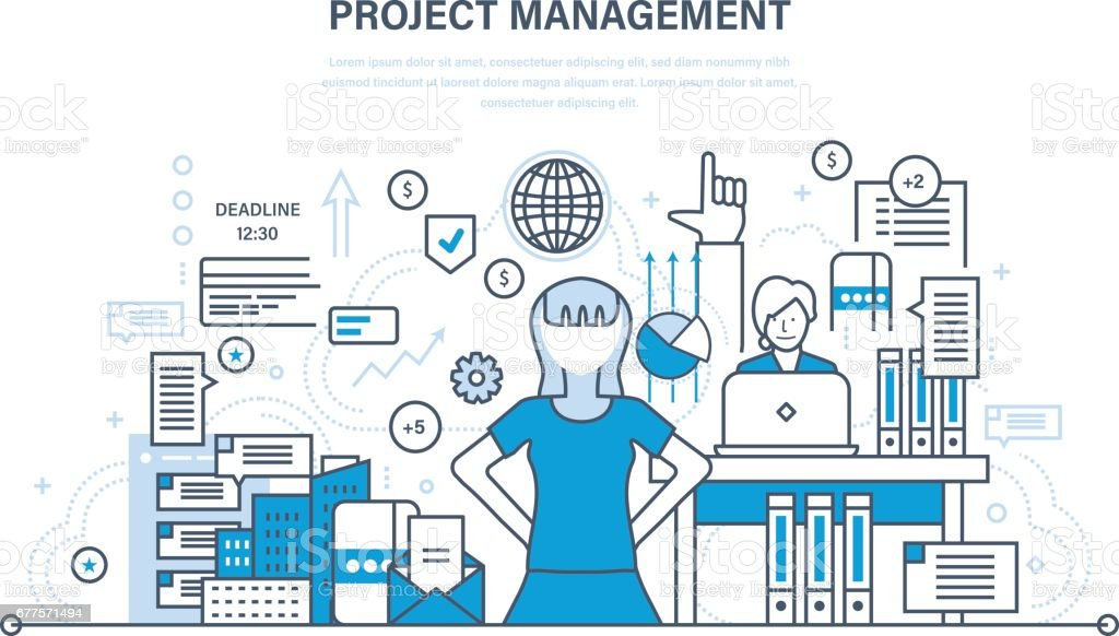 Project management, planning, implementation deadlines and time management, process control royalty-free project management planning implementation deadlines and time management process control stock vector art & more images of adult
