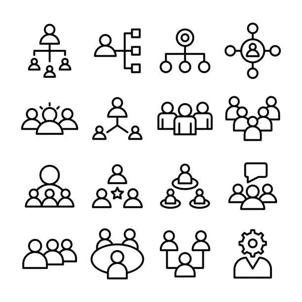 illustrazioni stock, clip art, cartoni animati e icone di tendenza di project management, project material line vector icons set - focus group