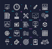 Project management tools outline style symbols on dark background. Line vector icons set for infographics, mobile and web designs.