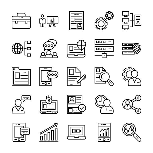 Project Management Vector Icons 5 vector art illustration