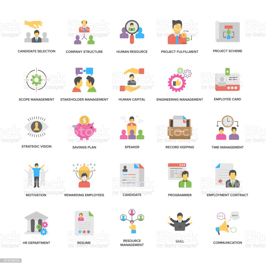 Project Management Vector Icons Collection In Flat Design vector art illustration