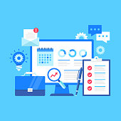 Project management. Vector illustration. Business administration, manage project concepts. Flat design. Computer with calendar, data, infographic on screen, checklist, cog, briefcase, light bulb, etc.
