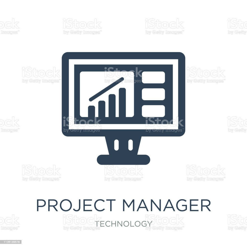 project manager icon vector on white background, project manager trendy filled icons from Technology collection, project manager vector illustration vector art illustration