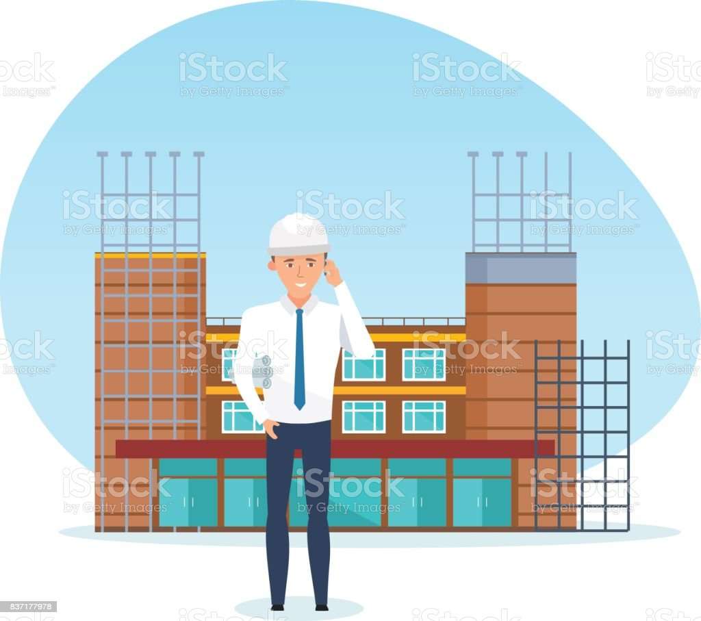 Project manager, with technical documentation, against background of under construction vector art illustration