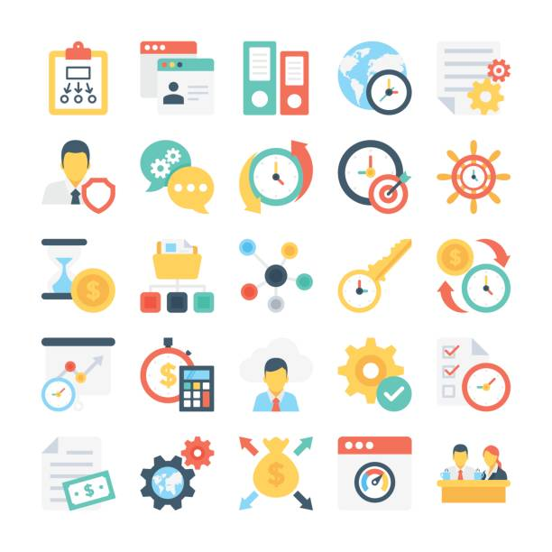 Project Managment Colored Vector Icon 10 vector art illustration