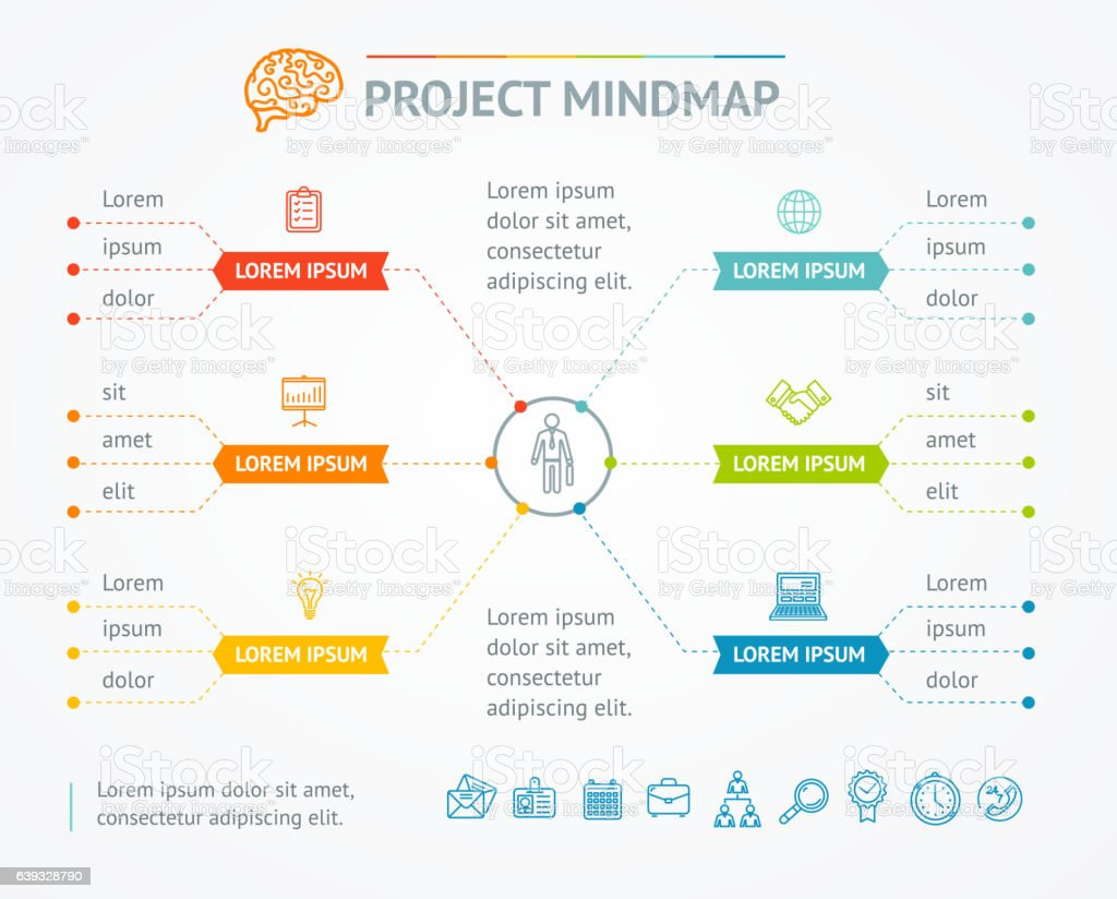 Project Mindmap Chart. Vector vector art illustration
