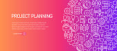 Project Planning Banner Template with Line Icons. Modern vector illustration for Advertisement, Header, Website.