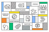 Project Planning Concept. Geometric Retro Style Banner and Poster Concept with Project Planning Line Icons