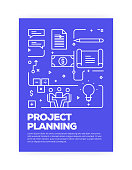 Project Planning Concept Line Style Cover Design for Annual Report, Flyer, Brochure.