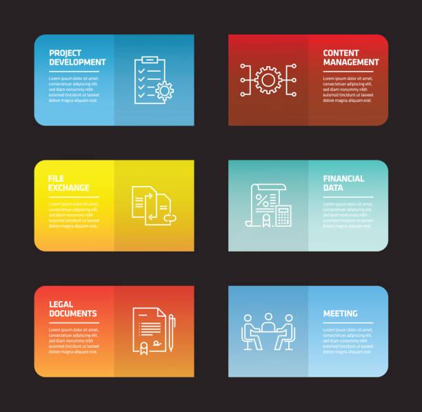 bildbanksillustrationer, clip art samt tecknat material och ikoner med projektet planerar infographic formgivningsmall - man architect computer