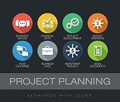 Project Planning chart with keywords and icons. Flat design with long shadows