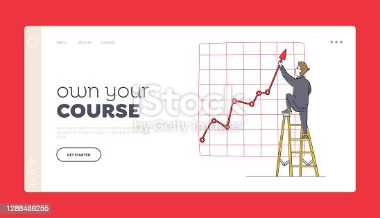 istock Project Presentation, Financial Statistics Graph Landing Page Template. Businessman Character Stand on Ladder with Arrow 1288486255